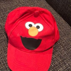 SESAME STREET ELMO FLEECE VISOR HAT with CHIN STRAP /& MITTENS ~ NWT